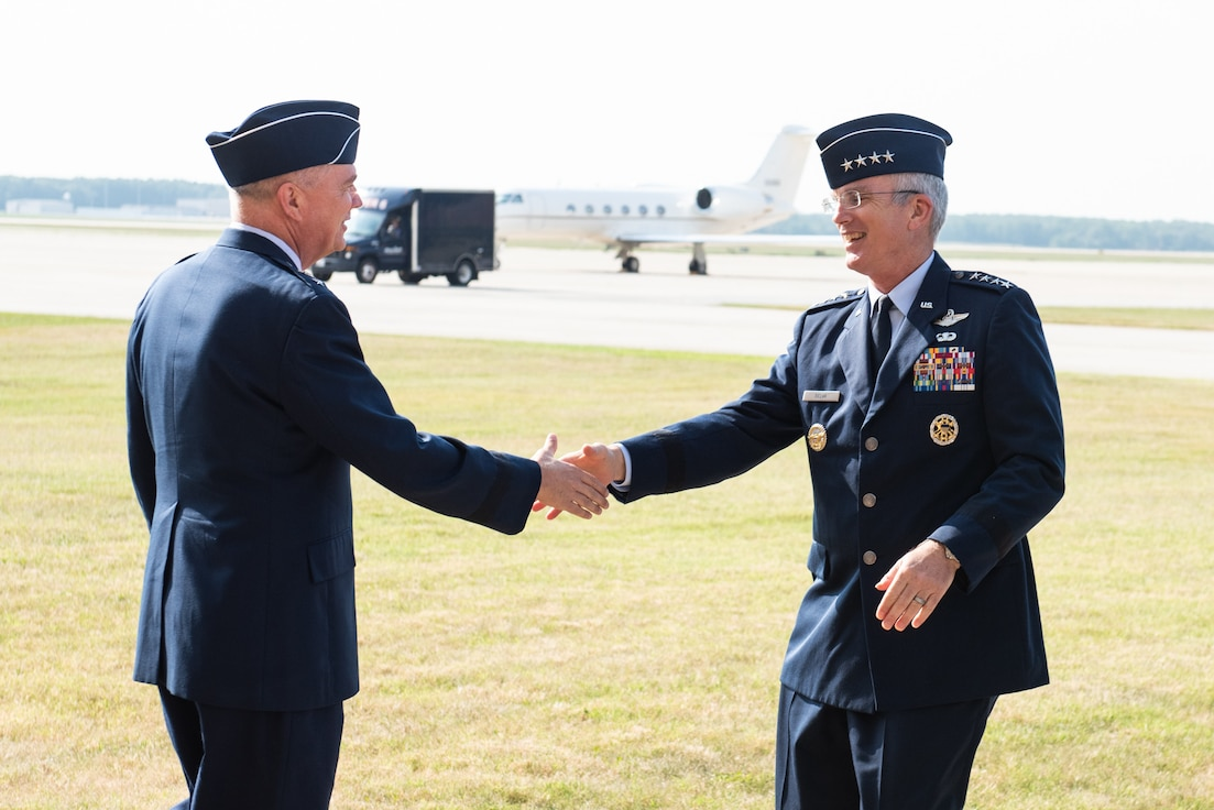 AAir Force District of Washington Commander Maj. Gen. Ricky N. Rupp attended the retirement ceremony honoring the nation's second highest-ranking military officer, United States Air Force Gen. Paul J. Selva, Vice Chairman of the Joint Chiefs of Staff, at Joint Base Andrews Hangar 3 July 31.