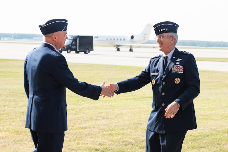 Air Force Maj. Gen. Ricky N. Rupp, Air Force District of Washington and 320th Air Expeditionary Wing Commander, greets Gen. Paul J. Selva, vice chairman of the Joint Chiefs of Staff, as he arrives ahead of his retirement ceremony hosted by Marine Corps Gen. Joe Dunford, chairman of the Joint Chiefs of Staff, at Hanger 3, Joint Base Andrews, Md., July 31, 2019. Gen. Selva retires after over 39 years of service. (DoD Photo by U.S. Army Sgt. James K. McCann)