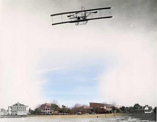 """This image, original date and photographer unknown, is of one of the Wright Brothers' planes being flown over what was then Fort Myer, now the Fort Myer portion of Joint Base Myer-Henderson Hall. It cannot be determined who is piloting the plane in this photograph. The color photograph was taken in a similar location near the edge of Summerall Field and Bldg. 417, March 16. Lt. Thomas Selfridge is credited with being the first military officer to fly a solo flight on May 19, 1908, in Hammondsport, N.Y., according to the First Flight Society's website. On Sept. 17 of the same year, Selfridge, while test-flying the """"Flyer A"""" with Orville Wright on what was then known as Fort Myer, crashed due to a broken propeller where the Tri-Service parking lot is located today. Selfridge was killed, becoming the first fatality in powered aviation, while Orville Wright was injured and brought to the installation hospital, now known as Bldg. 59, seen in the bottom of the image. Selfridge is buried in Section 3 of Arlington National Cemetery, about one mile from where the accident occurred. His obelisk reads, in part, """"Killed in the service of the United States in an aerodrome accident."""""""