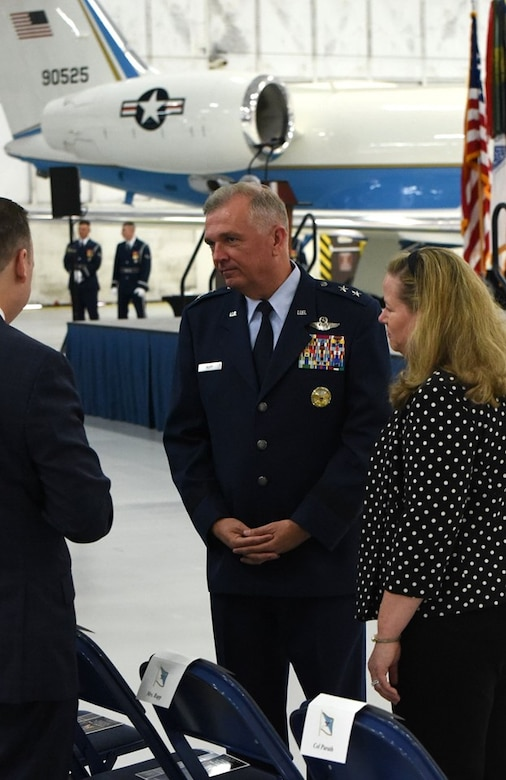 Air Force District of Washington Commander Maj. Gen. Ricky N. Rupp and his wife, Charlotte, chat with fellow attendees of the retirement ceremony in honor of United States Air Force Gen. Paul J. Selva, Vice Chairman of the Joint Chiefs of Staff. Selva, the 10th Vice Chairman of The Joint Staff, retires from the Air Force after more than 39 years of honorable service. (U.S. Air Force photo/James E. Lotz)