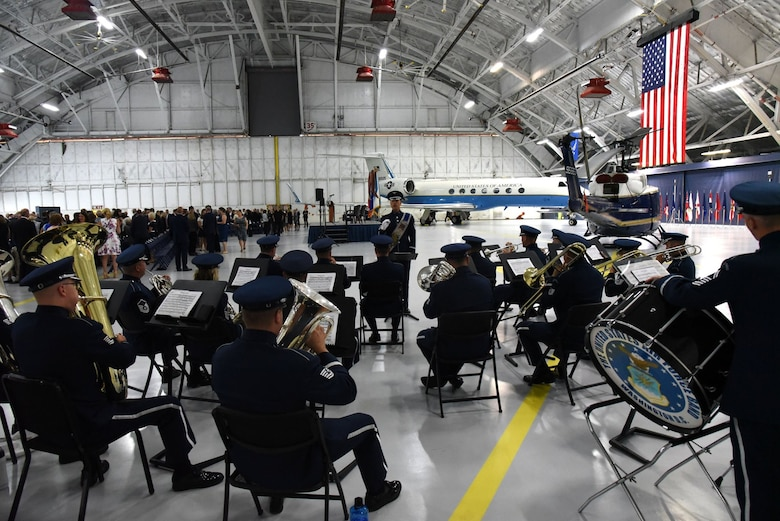 The The United States Air Force Band plays an opening medley before the retirement ceremony in honor of United States Air Force Gen. Paul J. Selva, Vice Chairman of the Joint Chiefs of Staff, at Joint Base Andrews Hangar 3. Selva, the 10th Vice Chairman of The Joint Staff, retires from the Air Force after more than 39 years of honorable service. (U.S. Air Force photo/James E. Lotz)