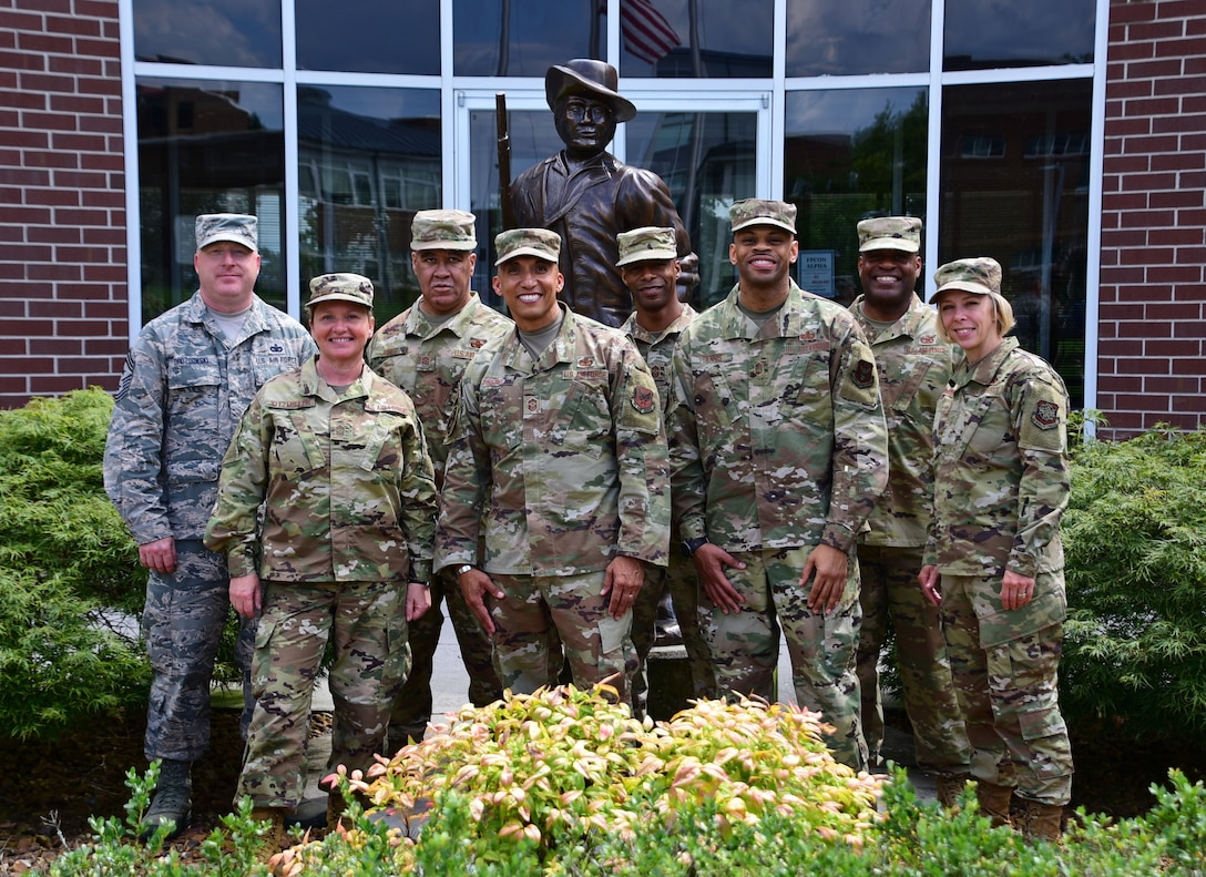 Leaders from the U.S. Air Force first sergeant community and the three wing command chief master sergeants from the Tennessee Air National Guard pose for a group photo July 23, 2019 at the I.G. Brown Training and Education Center on McGhee Tyson Air National Guard Base, Louisville, Tennessee. The leaders presented at a summit and symposium of first sergeants from across the Air Force that was organized by the Tennessee Air National Guard. (U.S. Air National Guard photo by Staff Sgt. Anthony Agosti)