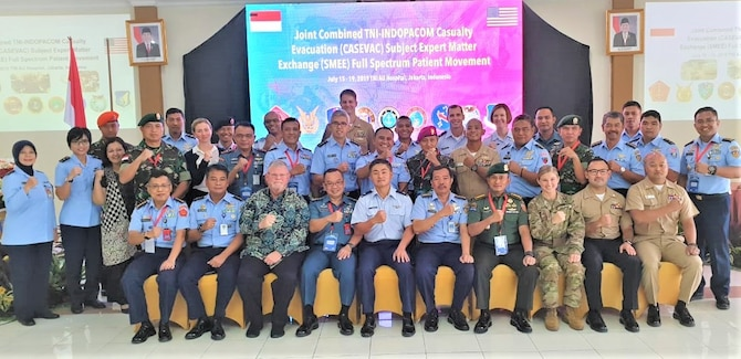 U.S. and Indonesian Armed Forces, and civilian participants take a group photo during the inaugural Joint Combined TNI-U.S. Indo-Pacific Command Casualty Evacuation Subject Matter Expert Exchange – Full Spectrum Patient Movement, in Jakarta, Indonesia, July 15 through 18, 2019. (Courtesy Photo)