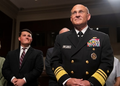 Navy Vice Adm. Michael M. Gilday, director of the Joint Staff, testifies before the Senate Armed Services Committee during his confirmation hearing for the position of Chief Naval Operations, at the U.S. Senate Dirksen Building in Washington, D.C., July 31, 2019.