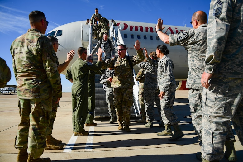 Airmen from the 419th Fighter Wing and 388th Fighter Wing return to Hill Air Force Base, Utah, July 30, 2019 following a two-month European deployment