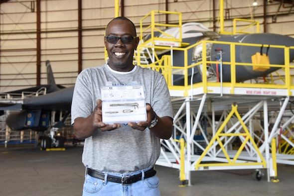 Melvin Pruitt developed a critical tool while working on B-1 inboard and outboard panels as a sheet metal mechanic for the 567th Aircraft Maintenance Squadron. After almost four years of development, the 'Pruitt Tool' is now used on the B-1, B-52 and other weapon systems. (U.S. Air Force photo/Kelly White)