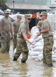 Soldiers from Battery B, 2nd Battalion, 123rd Field Artillery place sandbags shoring up concrete barriers in Grafton, Illinois, during flood operations in June.