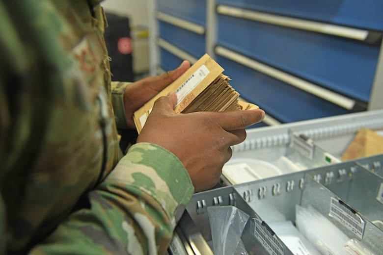 Staff Sgt. Jordan-Dean Morgan, 100th Logistics Readiness Squadron decentralized maintenance support supervisor, organizes bench stock maintenance supplies at RAF Mildenhall, England, July 31, 2019. The 100th LRS stood up the first KC-135 Stratotanker DMS section in U.S. Air Forces in Europe at RAF Mildenhall, England, in October 2019. (U.S. Air Force photo by Senior Airman Luke Milano)