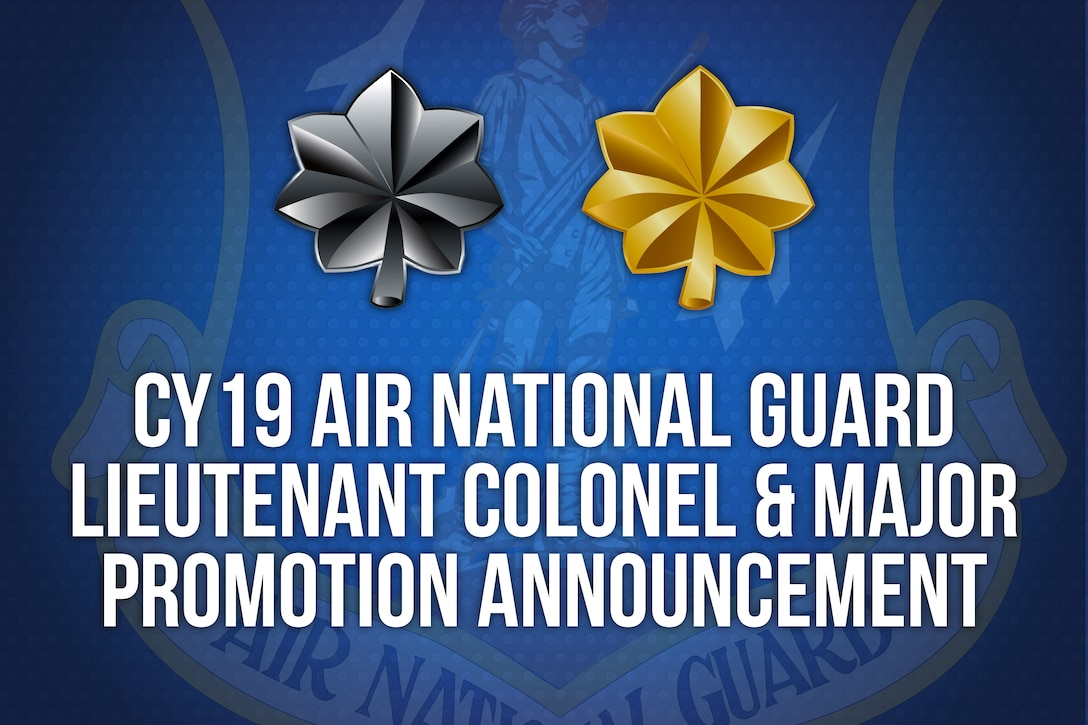 Headquarters Air Reserve Personnel Center officials announced results for the Calendar Year 2019 Air National Guard Lieutenant Colonel and Major Promotion Selection Board today. The boards selected more than 500 Citizen Airmen for promotion.
