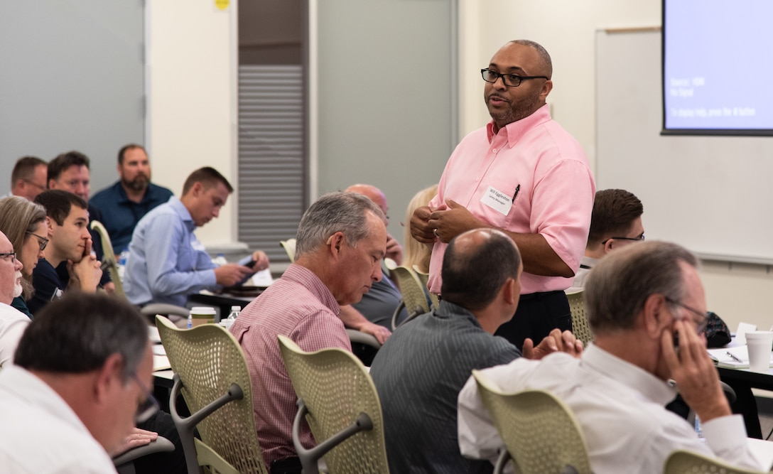 Will Eggleston, a safety manager with the U.S. Army Engineering and Support Center, Huntsville, goes over introductions with a group of more than 70 contractors and government personnel attending a one-day joint workshop in Huntsville, Alabama, July 24, 2019. The group included representatives from the 13 energy-service companies that fall under Huntsville Center's Energy Savings Performance Contracting Indefinite Delivery/Indefinite Quantity Multiple Award Task Order.