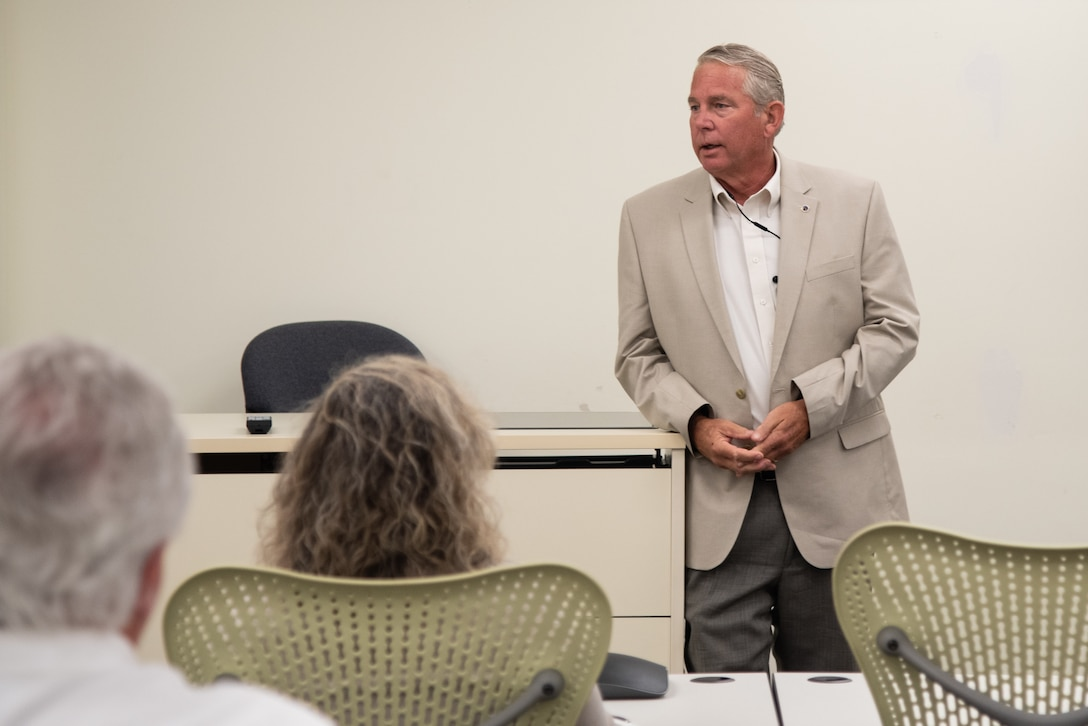 Boyce Ross, the acting deputy commander (civilian) of the U.S. Army Engineering and Support Center, Huntsville, welcomes more than 70 contractors and government employees attending a one-day joint workshop in Huntsville, Alabama, July 25, 2019. Ross also serves as Huntsville Center's director of Engineering. The group included representatives from the 13 energy-service companies that fall under Huntsville Center's Energy Savings Performance Contracting Indefinite Delivery/Indefinite Quantity Multiple Award Task Order.