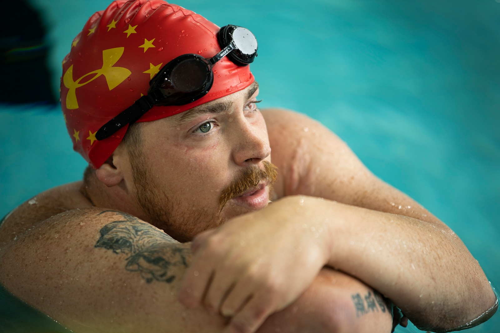 U.S. Marine Corps veteran Isaac Blunt participates at the DoD Warrior Games swimming competition in Tampa, Florida, June 29, 2019.  The 2019 Warrior Games consist of 13 Paralympic-style sports, and more than 300 athletes representing the U.S. Marine Corps, Army, Navy, Air Force, Special Operations Command, and five international teams.