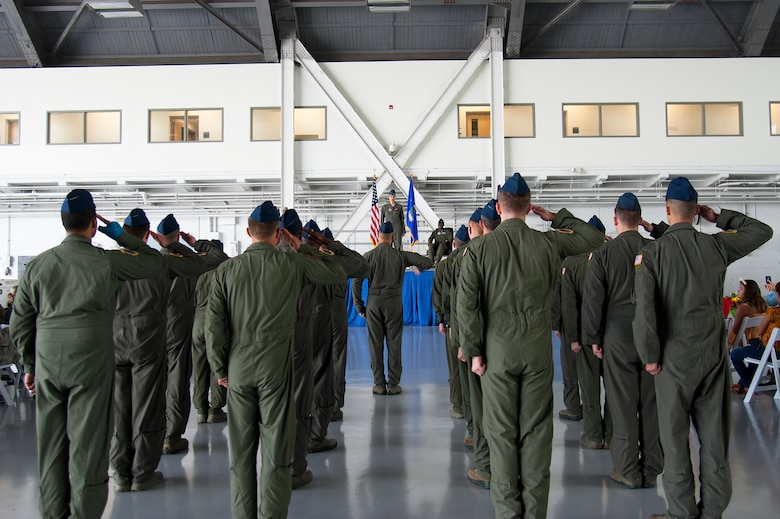 Members of the 50th Air Refueling Squadron (ARS) render their first salute to U.S. Air Force Lt. Col. Menola Guthrie, the 50th ARS commander, during a change of command ceremony, Aug. 2, 2019, at MacDill Air Force Base, Fla.  Prior to assuming command of the 50th ARS, Guthrie served as the 6th Air Mobility Wing Inspector General. (U.S. Air Force photo by Airman 1st Class Shannon Bowman)