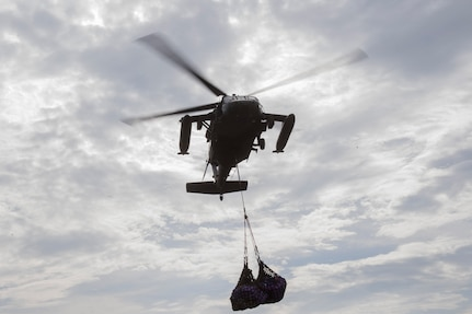 A UH-60 Blackhawk assigned to the 1st Battalion, 228th Aviation Regiment transports medical equipment and supplies from the U.S.N.S. Comfort to Punta Arenas, Costa, July 23, 2019. Pilots and aircrew assigned to the 1st Battalion, 228th Aviation transported personnel and equipment to allow the U.S. Naval Ship Comfort to provide medical care to Costa Rican citizens and Venezuelan migrants as part of the United States enduring promise of helping its southern neighbors. The Winged Warriors transported more than 470 people and 20 tons of cargo from July 21 - 30. (U.S. Air Force photo by Staff Sgt. Eric Summers Jr.)