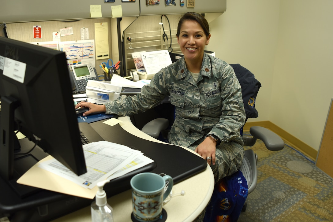 U.S. Air Force Maj. Tanya Mooneyham, 81st Medical Group Intensive Care Unit element leader, poses for a photo inside Keesler Medical Center on Keesler Air Force Base, Mississippi, July 15, 2019. Mooneyham received the 2019 Society of American Indian Government Employees Military Meritorious Service Award for her dedicated work in her community while supporting the Defense Department mission. (U.S. Air Force photo by Senior Airman Suzie Plotnikov)