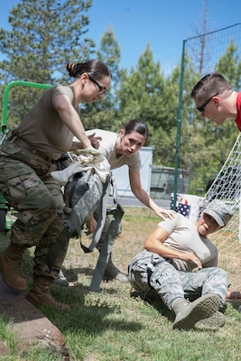 Members of the 149th Medical Group participate in Tactical Combat Casualty Care training at Coast Guard Station Lake Tahoe, Nev. June 16, 2019.