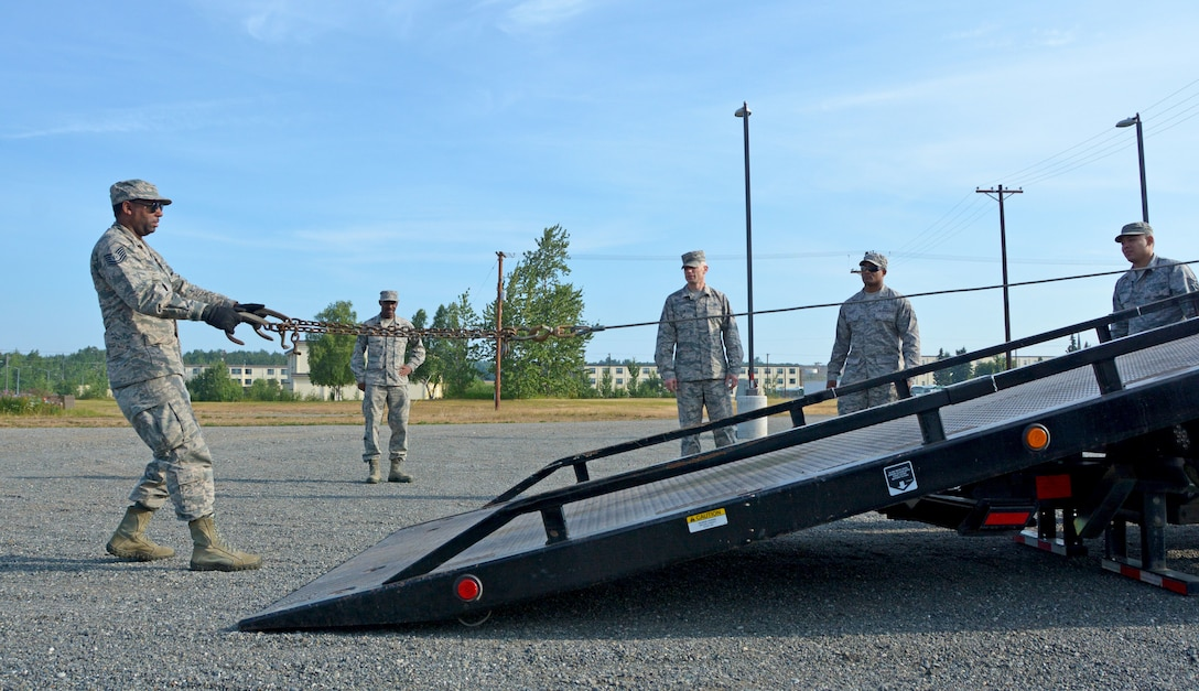 Tech. Sgt. Rahsaan Truett, 507th Logistics Readiness Squadron Ground Transportation Operations Center NCOIC, pulls out a tow chain on a rollback wrecker July 18, 2019, at Joint Base Elmendorf-Richardson, Alaska. (U.S. Air Force photo by Tech. Sgt. Samantha Mathison)