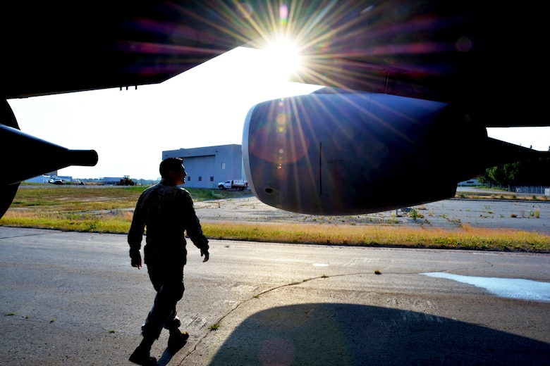 Tech. Sgt. Adrian Condit, 507th Maintenance Squadron crewchief, inspects a KC-135R Stratotanker during pre-flight operations at Ted Stevens Anchorage International Airport, Alaska, July 19, 2019. (U.S. Air Force photo by Tech. Sgt. Samantha Mathison)