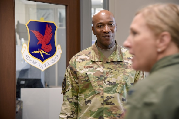 Chief Master Sgt. of the Air Force #18 Kaleth O. Wright visited several units at Tinker Air Force Base and toured the 137th Special Operations Wing at Will Rogers Air National Guard Base July 30-31. During his visit, Wright received an overview of Tinker missions with an emphasis on Airmen's contributions to readiness through innovation and their impact throughout the Air Force. Wright also delivered a presentation focusing on Wingman and total force resiliency at an Enlisted All Call at Rose State College. (U.S. Air Force photo/Kelly White)