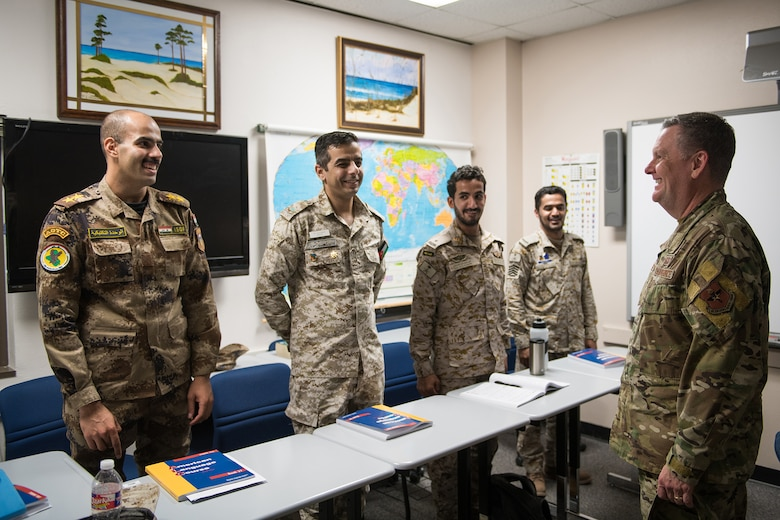 U.S. Air Force Lt. Gen. Brad Webb (right) meets with international students during his immersion tour at the 637th Training Group at Defense Language Institute English Language Center Aug.1, 2019, at Joint Base San Antonio-Lackland, Texas