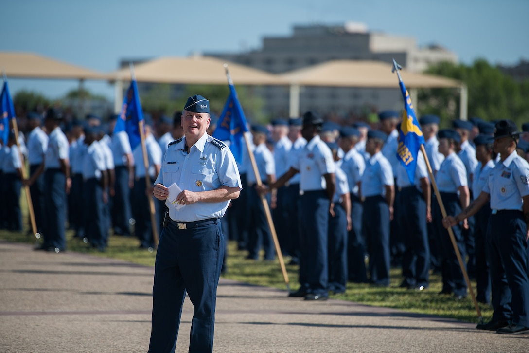 U.S. Air Force Lt. Gen. Brad Webb, commander of Air Education and Training Command (AETC), addresses Airmen during basic military training graduation Aug. 2, 2019, at Joint Base San Antonio-Lackland, Texas.