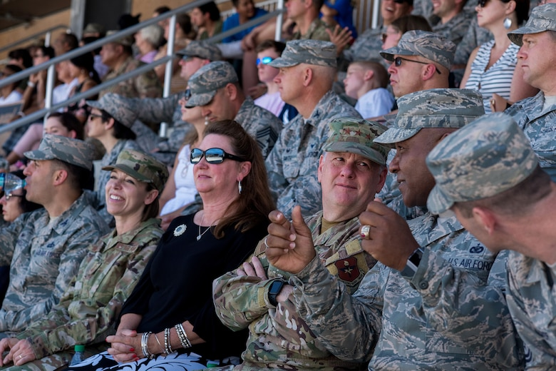 U.S. Air Force Lt. Gen. Brad Webb, commander of Air Education and Training Command (AETC), attends the coin ceremony Aug. 1, 2019, at Joint Base San Antonio-Lackland, Texas.