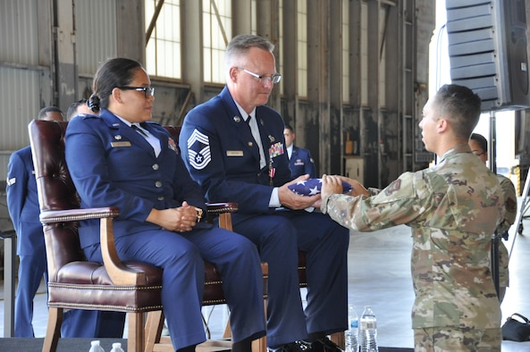 "After completing more than 37 years of faithful service to his country, 452nd Aircraft Maintenance Squadron Superintendent, Chief Master Sgt. James L. Madsen, officially retired Saturday, July 27, 2019. Madsen's retirement ceremony took place in March Field's ""Pride Hangar,"" and was very-well attended, which considering the soaring afternoon temperatures, proved a fine indication of the esteem with which the chief is held."