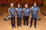 NAVAL STATION GREAT LAKES, Ill. (July 22, 2019) Air Force women's bowling team, from left to right, Lt. Col. Danielle H. Crowder, Master Sgt. Lisa S. Yanez, Tech Sgt. Kathleen M. Hastings, and Maj. Virginia L. Aguilar, at Armed Forces Bowling Championship held on Naval Station Great Lakes, July 22. The Armed Forces Bowling Championship is underway from July 18 to July 24, and features a two-day elimination round and a three-day championship series that began with 50 of the military's top-ranked bowlers pitted in Singles, Doubles, Mixed Doubles, and Team-based competition.