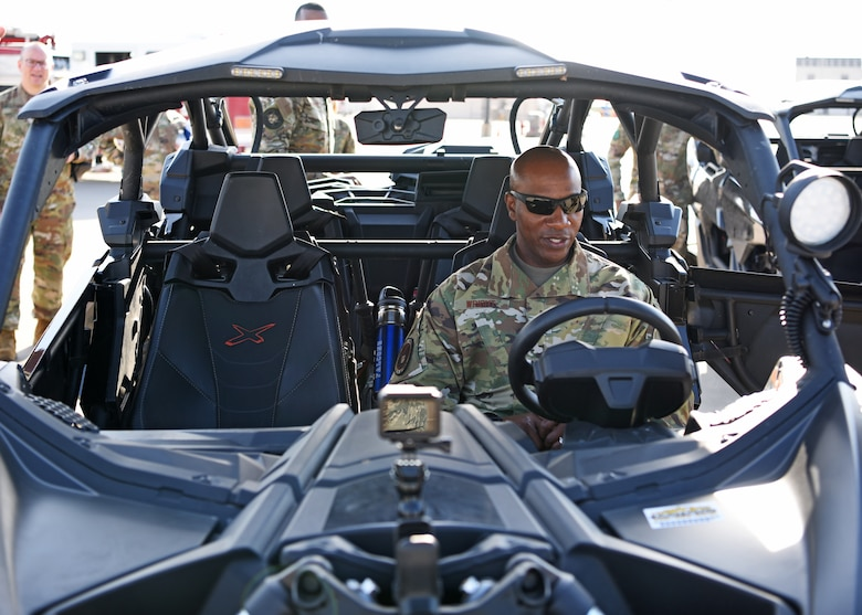 Chief Master Sergeant of the Air Force Kaleth O. Wright prepares to operate a utility task vehicle at Goodfellow Air Force Base, Texas, August 2, 2019. The UTV is used by the 17th Security Forces Squadron to patrol the wilderness of Goodfellow AFB that makes up 60% of the base. (U.S. Air Force photo by Airman 1st Class Ethan Sherwood/Released)