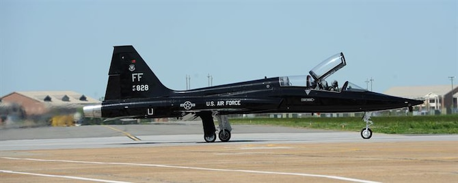 A T-38 Talon taxis down the runway at Langley Air Force Base, Va., March 26, 2012. The T-38s typically fly twice daily to provide adversary support at a fraction of the operational costs of other aircraft. (U.S. Air Force photo by Airman 1st Class Teresa Cleveland/Released)