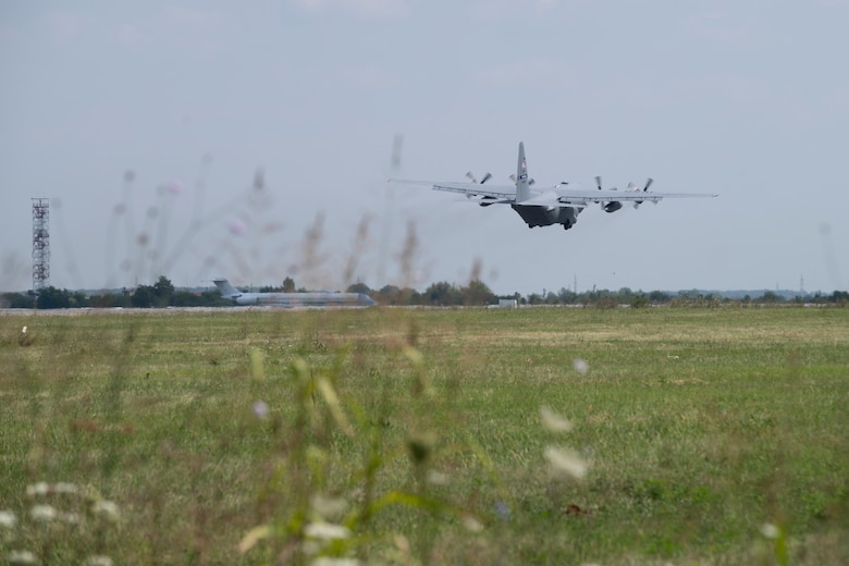 A C-130H Hercules assigned to the 357th Airlift Squadron, 908th Airlift Wing, Maxwell Air Force Base, Alabama, takes off in support of Carpathian Summer 19, July 31, 2019, at Otopeni Air Base, Romania.