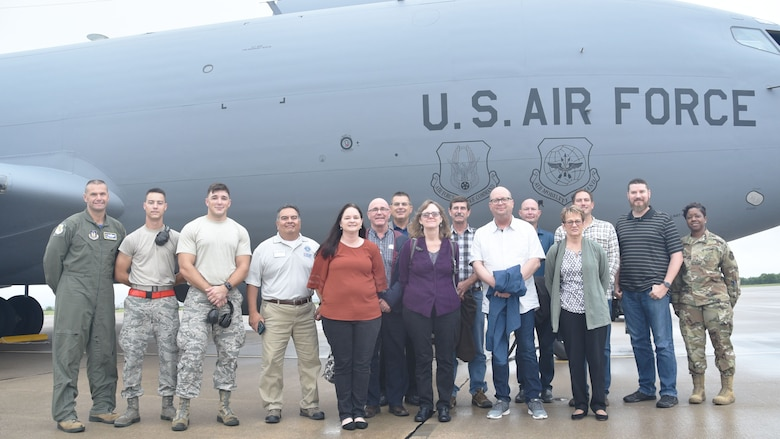 "Ten civilian employers of 931st Air Refueling Wing Airmen pose for a photo before boarding a KC-135 Stratotanker during a ""Bosslift"" sponsored by the local Employer Support of the Guard and Reserve (ESGR) here, Aug. 3, 2019, McConnell Air Force Base, Kan.  According to the official ESGR website, the purpose of ESGR is to educate supervisors and managers of traditional Reservists and develop a greater appreciation for the service of citizen Airmen. The focus of the organization is to promote an understanding of both the National Guard and Reserve as well as encourage support of employers in development of human resource policies and practices that support an employee's participation in the military."