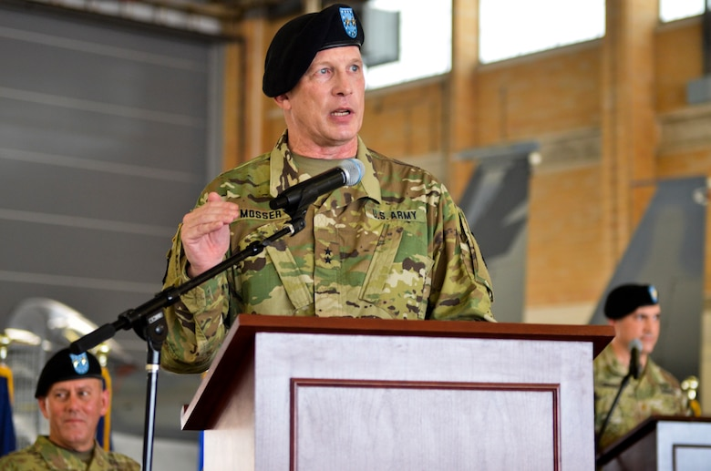 377th Theater Sustainment Command Commanding General, Maj. Gen. Greg Mosser, speaks from the podium for the first time after assuming command of the 377th TSC following a change of command ceremony at Naval Air Station Joint Reserve Base New Orleans, Belle Chasse, La.,  August 3, 2019.