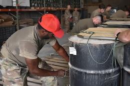 Soldiers of the 861st Quartermaster Company, U.S. Army Reserve, operating in Qatar under the 77th Sustainment Brigade, have been preparing aerial drops for delivery across the U.S. Central Command area of operations.