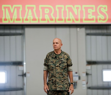 Commandant of the Marine Corps Gen. David H. Berger and Sergeant Major of the Marine Corps Sgt. Maj. Troy E. Black visited Marine Corps Recruit Depot Parris Island July 29, 2019. They held a Town Hall meeting aboard the depot to address the current state of the Marine Corps and discussed their future vision and expectations for Marines. (U.S. Marine Corps photo by Warrant Officer Bobby J. Yarbrough)