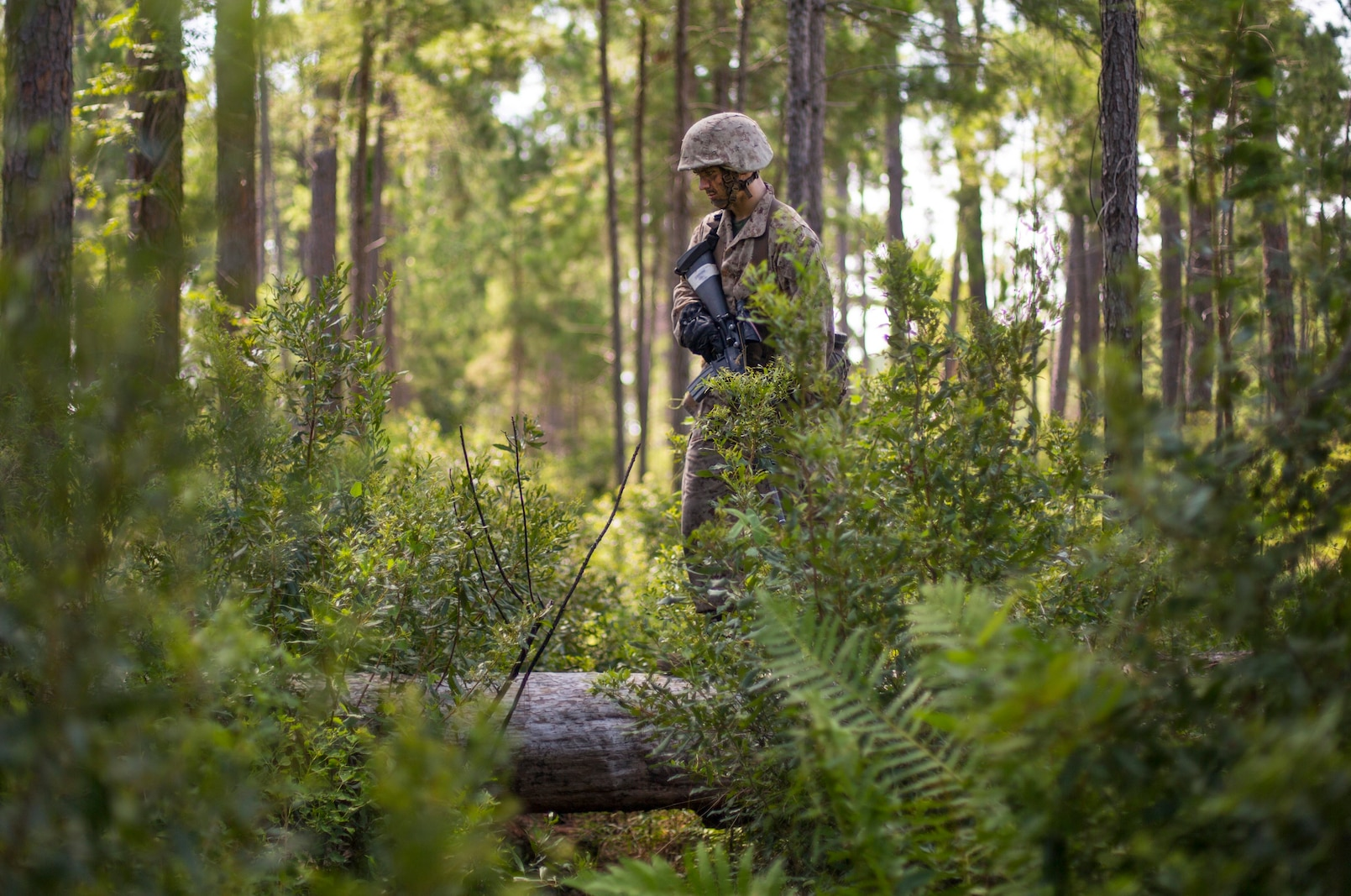 A recruit with Fox Company participates in the Crucible on Parris Island, S.C. August 1, 2019. The Crucible is the culminating event that test recruits mentally and physically, it is the final step before becoming a U.S. Marine. 