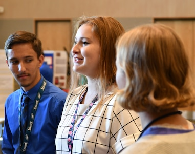 IMAGE: DAHLGREN, Va. (July 25, 2019) — A student briefs attendees on her technical project as her summer internship concluded at the Naval Surface Warfare Center Dahlgren Division. She was among students who completed their summer internships at Naval Surface Warfare Center Dahlgren Division. The Science and Engineering Apprenticeship Program (SEAP) encourages participating high school students to pursue science and engineering careers, to further their education via mentoring by laboratory personnel and their participation in research, and to make them aware of DoN research and technology efforts, which can lead to employment within the DoN.