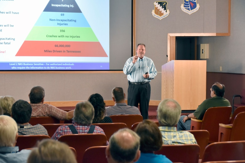 Walt Bishop, NAS deputy director of mission execution at Arnold Air Force Base, leads a safety culture presentation June 5. The purpose of the presentation, attended by a group of Arnold AFB craft personnel, was to remind employees to keep safety at the forefront while carrying out daily job duties. (U.S. Air Force photo by Bradley Hicks)