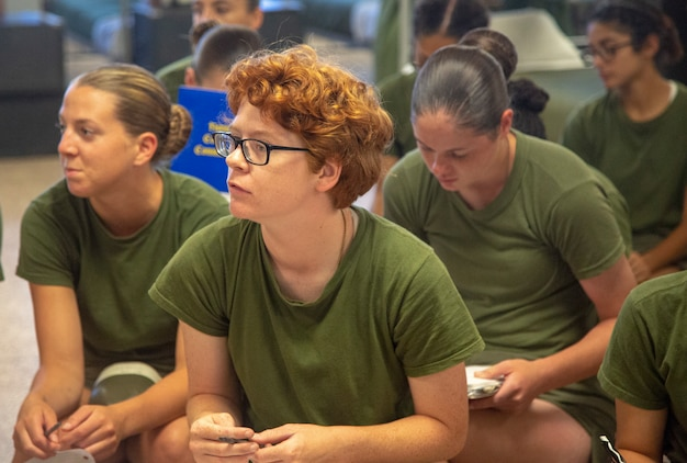 Recruits with Recruit Separation Platoon, Special Training Company, Support Batallion attend a guided discussion on July 29, 2019 aboard Marine Corps Recruit Depot Parris. As part of a new initiative called Operation Fresh Start, recruits in RSP are encouraged to pursue personal development and attend classes to assist their transition. (U.S. Marine Corps photo by Cpl Daniel O'Sullivan)