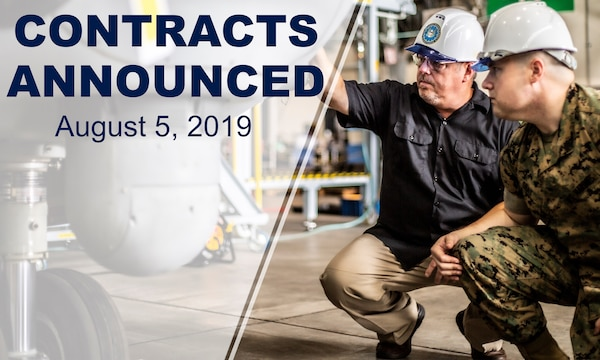 "Two men inspect an aircraft. Text on photo says: ""Contracts Announced August 5, 2019"""
