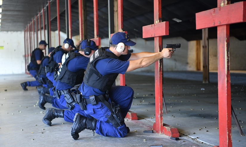U.S. Coast Guardsmen from USCG Cutter Hamilton participate in annual combat arms training at Joint Base Charleston, S.C., Aug. 1, 2019. Coast Guard combat arms instructors from U.S. Coast Guard Sector Charleston assisted in the evaluation of the guardsmen to ensure they were ready and worldwide qualified for their next mission. Combat Arms Training and Maintenance instructors support the readiness of Joint Base Charleston's mission partners through training and evaluating service members on proficiently operating and safely handling their weapons. The partnership between Air Force and Coast Guard personnel supports USCG Sector Charleston in their mission of performing maritime safety, security and stewardship in their area of responsibility.