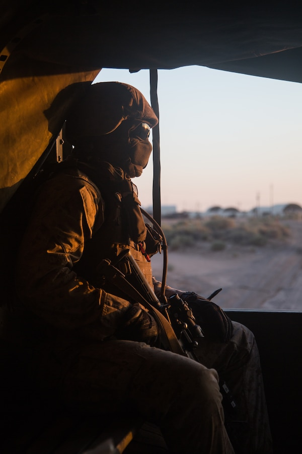 U.S. Marine Cpl. Tavanlee Parkin, a combat engineer assigned to Marine Wing Support Squadron 272, rides inside a Medium Tactical Vehicle Replacement during Integrated Training Exercise 5-19 at Marine Corps Air Ground Combat Center, Twenty-nine Palms, California, July 26, 2019. ITX 5-19 is a large-scale, combined-arms training exercise that produces combat-ready forces capable of operating as an integrated Marine Air-Ground Task Force.