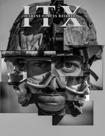 Photo illustration of U.S. Navy Petty Officer 2nd Class Anthony S. Lombardo, a corpsman with 1st Battalion, 25th Marine Regiment, 4th Marine Division, participating in Integrated Training Exercise 5-19 at Marine Corps Air Ground Combat Center Twentynine Palms, Calif., July 25- Aug. 22, 2019. Reserve Marines and Sailors with 1/25 participate in ITX to prepare for their upcoming deployment to the Pacific Region. (U.S. Marine Corps photo illustration by Sgt. Andy O. Martinez)