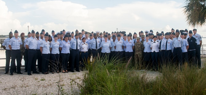 Joint NCO Professional Enhancement course participants at MacDill Air Force Base, Fla., June 24, 2019. The course covers topics such as the joint perspective from each branch, cultural and ethical awareness, building partnerships, communication, and leadership.