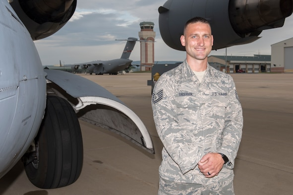 Tech.Sgt. Joshua Anderson is a crew chief for the 167th Aircraft Maintenance Squadron and is the 167th Airlift Wing's Airman Spotlight for August 2019. (U.S. Air National Guard photo by Senior Master Sgt. Emily Beightol-Deyerle)