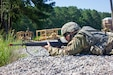 Pvt. Jonathan Taylor, of 952nd Quartermaster Company based in Livonia, Mich., in the prone position, performing perimeter defense as part of the Quartermaster Liquid Logistics Exercise Expanded 2019 at Fort Pickett, Virginia on July 25, 2019. QLLEX- E is a year-long liquid logistics training exercise that tests each participating unit's combat supply acumen and culminates in a rigorous evaluation of all units' theater sustainment capabilities. (U.S. Army by Capt. Jevon Thomas)