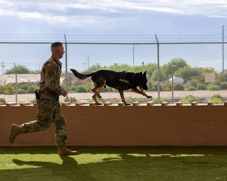 Staff. Sgt. Will Thompson, 56th Security Forces Squadron military working dog handler, runs through an obstacle course with Rango, a military working dog, July 31, 2019, at Luke Air Force Base, Ariz.