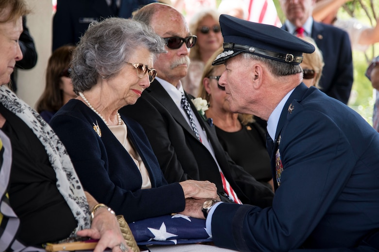 "Nancy (left), surviving wife of Oliver ""Ollie"" Crawford, is presented the American flag by retired Lt. Gen. John Bradley Aug. 5, 2019, at Joint Base San Antonio-Fort Sam Houston, Texas. ""Ollie"" passed away at the age of 94, on Sunday, July 21, 2019 in San Antonio, Texas."