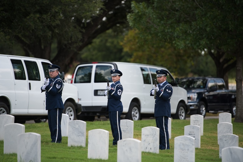 "U.S. Air Force Honor Guard fire a 21-gun salute during the funeral ceremony of Oliver ""Ollie"" Crawford Aug. 5, 2019, at Joint Base San Antonio-Fort Sam Houston, Texas. ""Ollie"" passed away at the age of 94, on Sunday, July 21, 2019 in San Antonio, Texas."