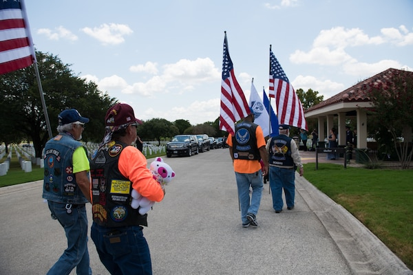 "Members of the Patriot Riders arrive to support the funeral ceremony of Oliver ""Ollie"" Crawford Aug. 5, 2019, at Joint Base San Antonio-Fort Sam Houston, Texas. ""Ollie"" passed away at the age of 94, on Sunday, July 21, 2019 in San Antonio, Texas."